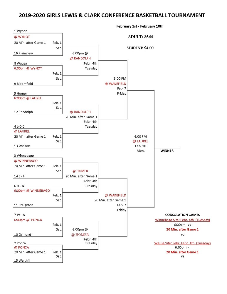 2020 Girls Lewis & Clark Conference Tournament